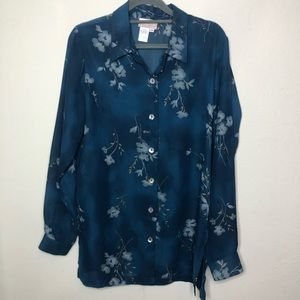 Coldwater Creek Sheer Floral Button Down Medium